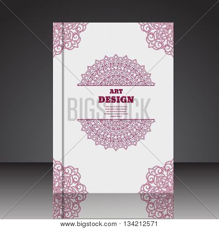 Abstract Geometric Red Floral Composition Brochure Background A4 Eps10 Vector Illustration