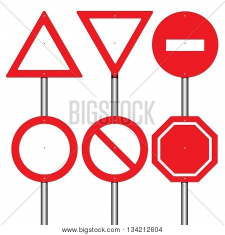 Red traffic sign set design isolated vector illustration.