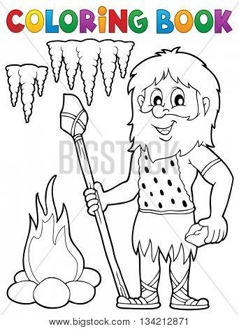 Coloring book cave man theme 1 - eps10 vector illustration.