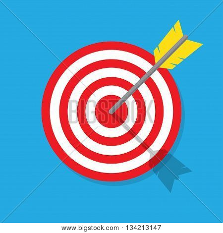 Target with arrow in the bullseye. Vintage style vector illustration. Idea Competition winning Achievement Victory and Business Success. Enjoy