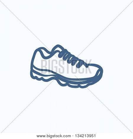 Sneaker vector sketch icon isolated on background. Hand drawn Sneaker icon. Sneaker sketch icon for infographic, website or app.