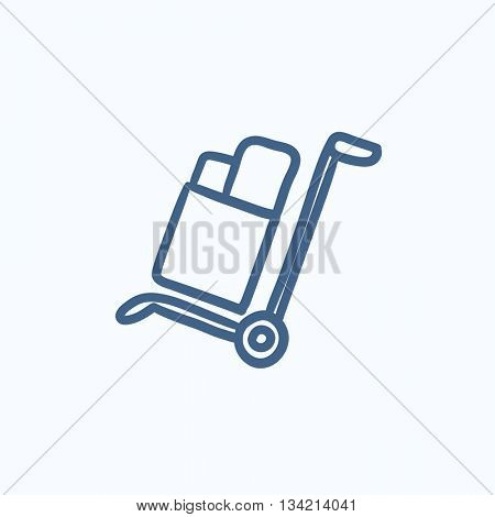 Shopping handling trolley vector sketch icon isolated on background. Hand drawn Shopping handling trolley icon. Shopping handling trolley sketch icon for infographic, website or app.