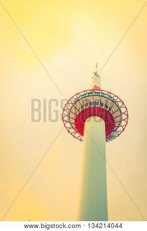 Japan Kyoto Tower  ( Filtered image processed vintage effect. )