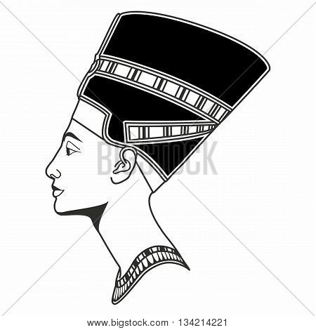 vector black-white graphic Line Nefertiti bust drawing in profile