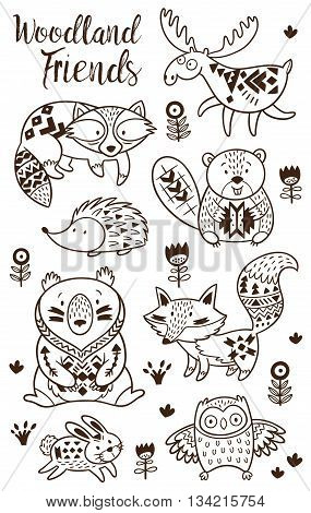 Woodland Animal Coloring Pages for Kids. Hand drawn vector on a white background. Coloring book. Ornamental tribal patterned illustration for tattoo, poster, print. Tribal animal coollection of deer, raccoon, beaver and hedgehog, deer, raccoon, beaver and
