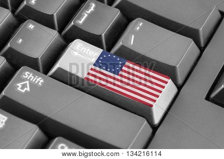 Enter button with Betsy Ross Flag. Grey keyboard