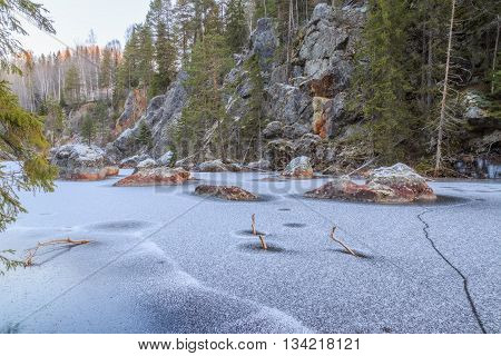 river with rock and icetrees and sunrise