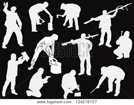 illustration with workers isolated on black background