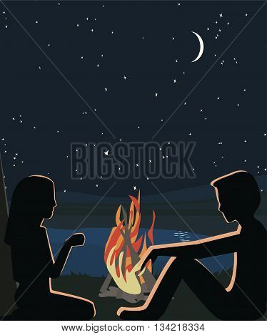 people sitting about fire at wilderness - romantic vector illustration with silhouettes