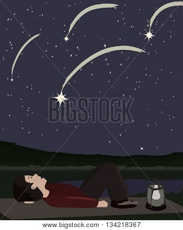 person watching meteor shower - vector cartoon illustration
