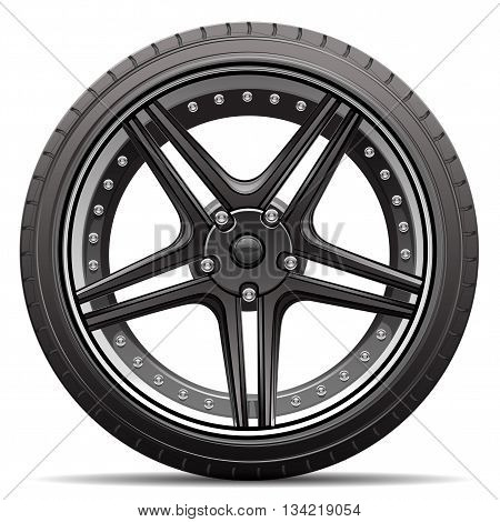 Sport car wheel black alloy and tire on white background vector illustration.