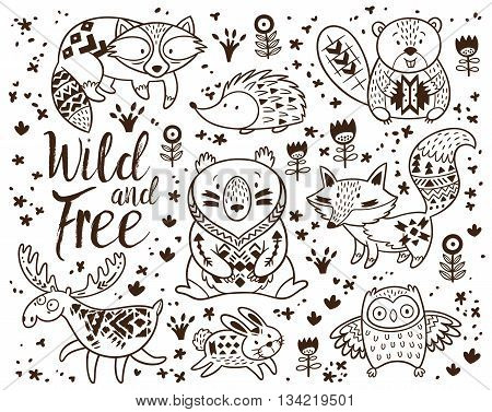 woodland animal coloring pages vector photo bigstock Baby Woodland Animals Clip Art Adult Coloring Pages Woodland Creatures
