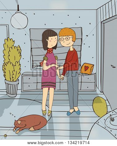 Vector illustration with couple who are staying in hallway of new house with smile on face sleeping cat on carpet. Colorful family hand drawn cartoon about love between wife and husband in new flat