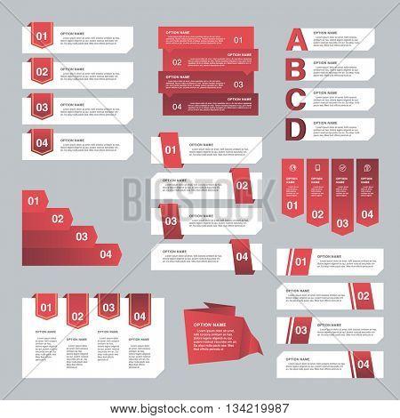 Set of Infographic design, options concept. Template for Business presentation. Vector illustration
