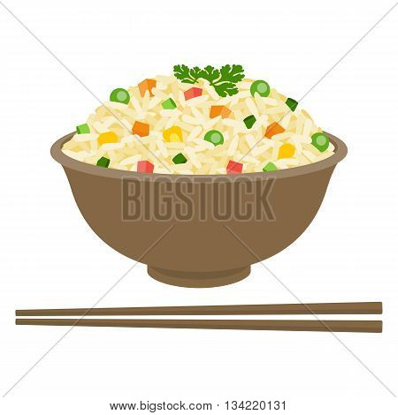 Fried rice in bowl with chopsticks, flat design
