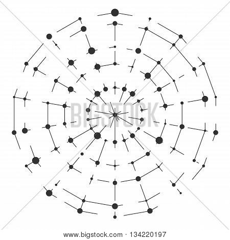 Abstract round thin lines with dots. Vector technology illustration. Modern pattern with cirlce points and stripes. Connection cyber style background.
