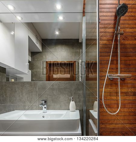 Shower With Wooden Wall