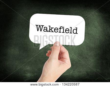Wakefield written in a speech bubble