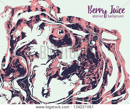 Abstract marbling ebru berry joice background. Handmade vector illustration