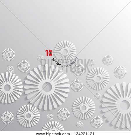 Abstract flower paper white on gray background vector illustration.