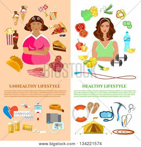 Healthy lifestyle and unhealthy lifestyle banner obesity problem diet and fitness fat and slim girl fast food vector illustration