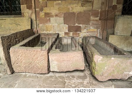 Lycian Tomb in  the Benedictine Monastery of 12-15 Century.  Wissembourg, Alsace, France