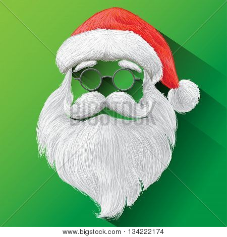 Santa Claus Hat, eyeglasses and beard. Vector illustration on green background for Merry Christmas festival holiday.
