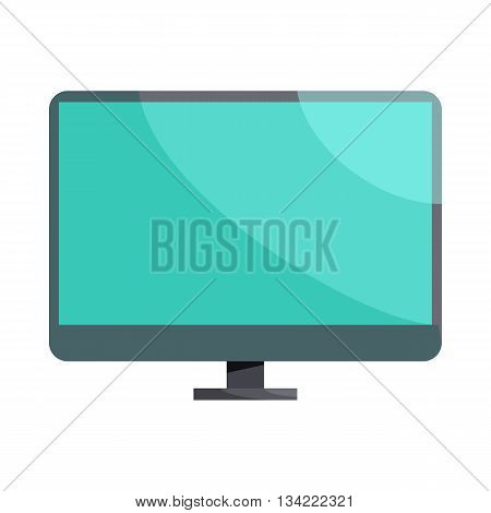 Blank computer monitor icon in cartoon style on a white background