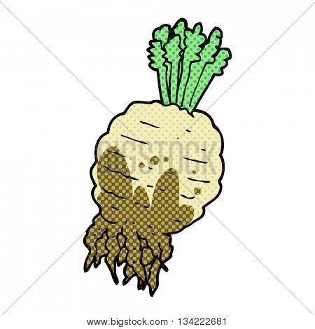 freehand drawn comic book style cartoon muddy turnip