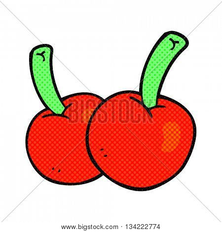freehand drawn comic book style cartoon cherries
