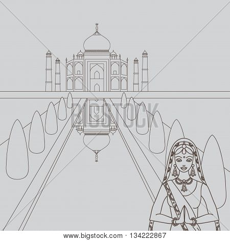 Taj Mahal Temple Landmark in Agra, India. Indian white marble mausoleum, indian architecture and South Asia beautiful woman  wearing indian traditional cloth, hinduism costume outline, vector