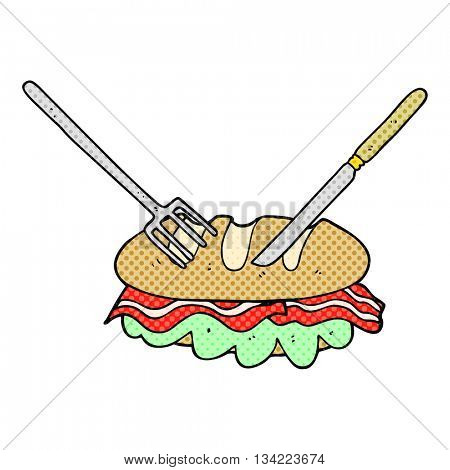 freehand drawn comic book style cartoon knife and fork cutting huge sandwich