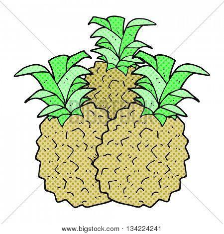 freehand drawn comic book style cartoon pineapple