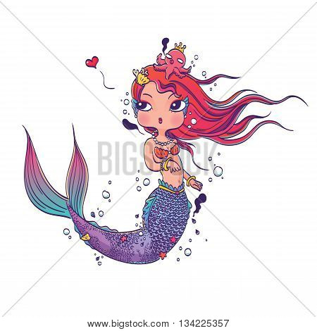 Vector Illustration of a Lovely Mermaid on White Background Hand Drawn, Doodle Cartoon Character