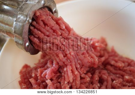 Mincer makes minced pork meat into bowl