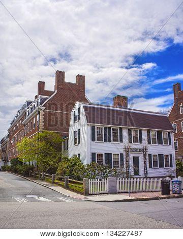 Cambridge, USA - April 29, 2015: John F Kennedy Street in Harvard University Area in Cambridge Massachusetts USA.