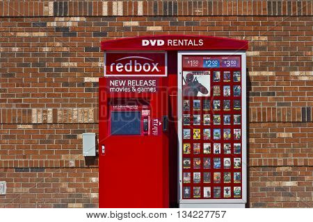 Indianapolis - Circa June 2016: RedBox Retail Kiosk. RedBox Rents DVDs Blu-Ray and Video Game Discs I