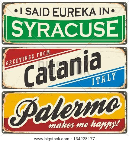 Italian cities retro metal signs set. Vintage vector souvenirs or postcard templates with travel theme.