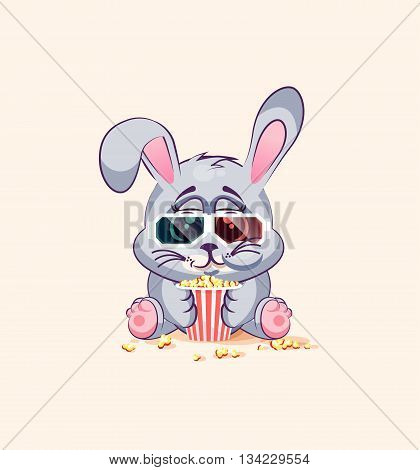 Vector Stock Illustration Emoji character cartoon Gray leveret chewing popcorn, watching movie in 3D glasses sticker emoticon for site, infographic, video, animation, website, e-mail, newsletter, report, comic