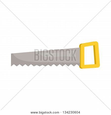 Saw with yellow handle icon in cartoon style on a white background