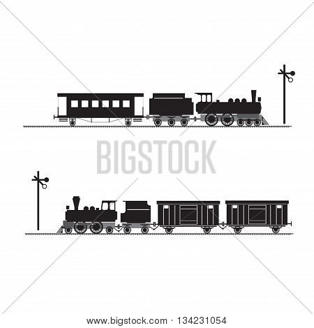 Black silhouettes of locomotives, carriages and tenders. Railway