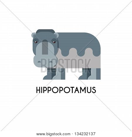 Hippo made in unique geometrical flat style. Flat design template animal logo. Isolated icons for your design.