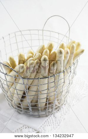 White Asparagus in Basket
