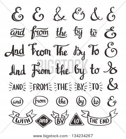 collection of hand sketched ampersands and catchwords made in vector. Handsketched set of design elements. Calligraphic detailes.