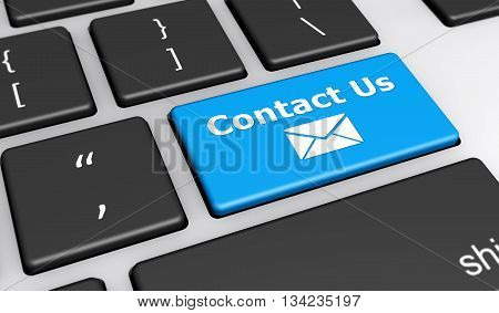 Contact us web and website concept with email icon and contact us word on a blue computer button keyboard 3D illustration.
