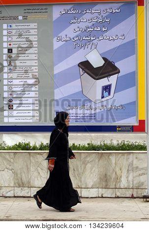 ARBİL,IRAQ- MARCH 5: Billboards and posters in March 2010 elections in kurdistan,Iraq.
