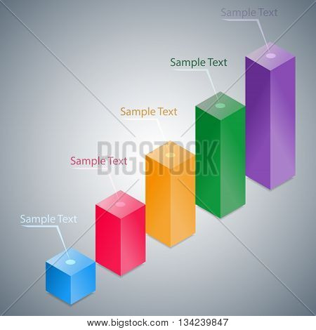 Abstract 3D Infographic Histogram Isolated On Silver Background