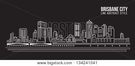 Cityscape Building Line art Vector Illustration design - Brisbane City