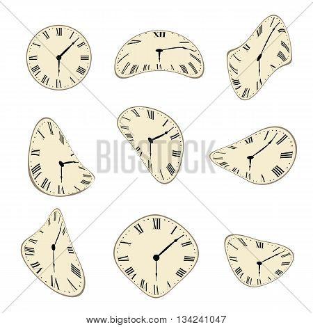 Classic Wall Clock distorted vector set design