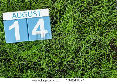 August 14th. Image of august 14 wooden color calendar on green grass lawn background. Summer day. Empty space for text.